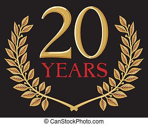 golden laurel wreath 20 years - illustration of a golden...