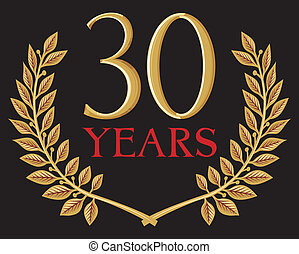 golden laurel wreath 30 years anniversary, jubilee