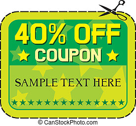 Coupon sale - 40% (forty percent discount, discount label)