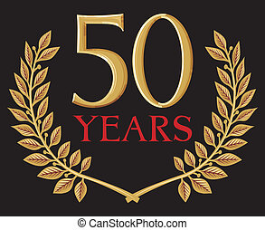 golden laurel wreath 50 years (50 years anniversary,...