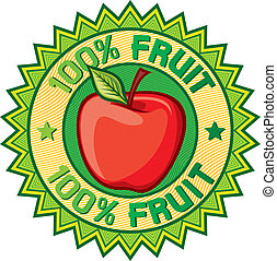 100% fruit label (apple sign, seal, symbol)