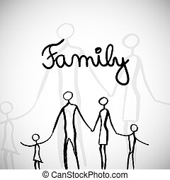Family illustration - Vector illustration with hand drawn...