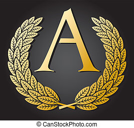 letter A and gold laurel wreath gold letter A