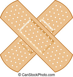 adhesive bandage Plasters forming a cross