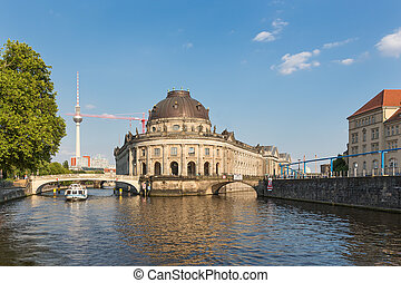 Museum island on Spree river and Alexanderplatz TV tower in...