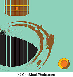 grunge Guitar scene - A manhole functions as sound hole in...