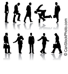 Ten vector businessmen silhouettes