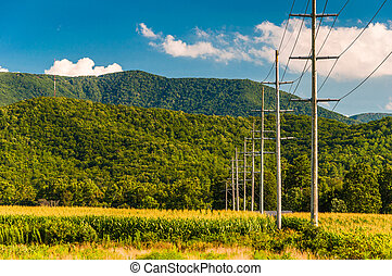 Power lines and view of the Blue Ridge Mountains in the...