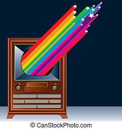 A vintage Television with colorful shooting stars coming out...