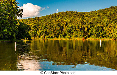 Trees reflecting in the Shenandoah River, seen from the Low...