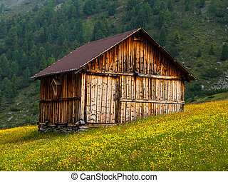 Alpine hut in Sellrein area Tirol, Austria
