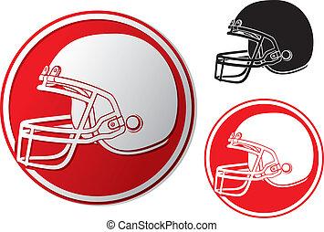 Américain, football, casque, icône