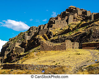 Ruins of Pisac in Urubamba valley near Cusco Peru