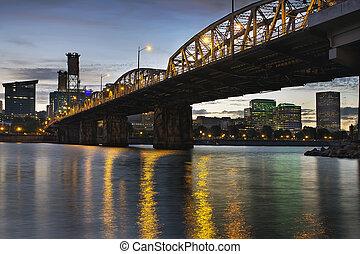 Portland Oregon Skyline Under Hawthorne Bridge - Portland...