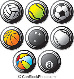 sport ball icons beach ball, tennis ball, american football...