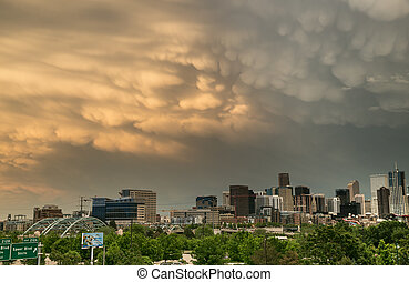 Spring Storm With Dramatic Clouds Over Downtown Denver
