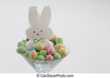 Marshmallow Easter Bunny in Martini Glass with Pastel Easter...