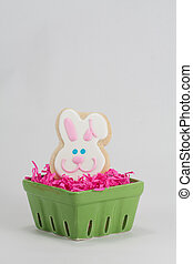 Easter Bunny Shaped Sugar Cookie in Pink Easter Grass and...