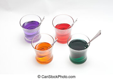 Red, Purple, Blue, Orange, Yellow and Green Easter Egg Dye