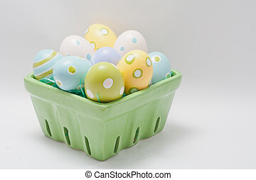 Crate of Hand Painted Easter Eggs - Green Crate of Hand...