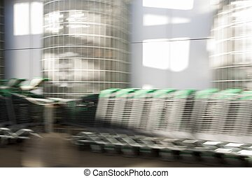 motion effect of shopping cart in the park