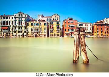 Venice cityscape, water grand canal and traditional buildings. Italy.