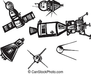 Historical Spaceships - Woodcut style set of historical...