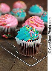 azul, Cor-de-rosa,  Cupcakes