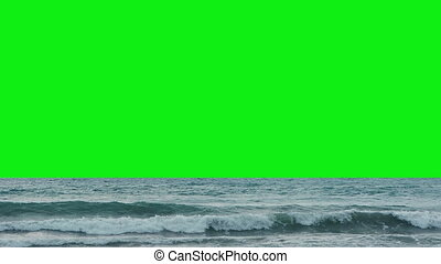Sea surf with green screen