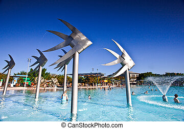 Swimming lagoon and Fish Sculpture in Cairns - Swimming...