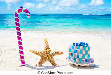 Starfish and seashell with Christmas decoration on sandy beach in sunny day- holiday concept