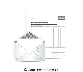 factura, recibo, correo, Ilustración, diseño