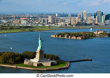 Statue of liberty New York Harbor - NEW YORK - OCTOBER 15:...