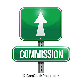 commission road sign illustration design over a white...