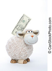 Sheep coin bank with american dollars