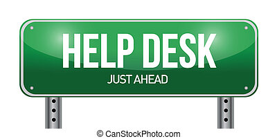 help desk road sign illustration design over a white...