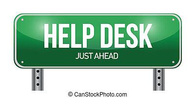 help desk road sign illustration design