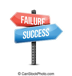 failure versus success road sign illustration