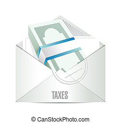 dollar bills taxes mail illustration design over white