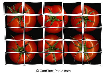 tomato puzzle collage - tomato on black background puzzle...
