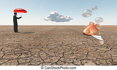 Man and floating fish in desert
