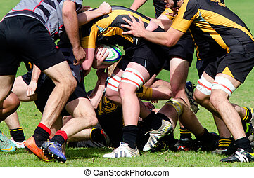 Rugby in New Zealand - KAITAIA, NZ - AUG 03: People plays...