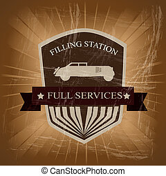 filling station over vintage background vector illustration