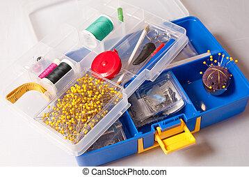 Costura, herramienta, caja