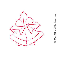 Illustration sketch composition two Christmas bells with holly berry and bow isolated - vector