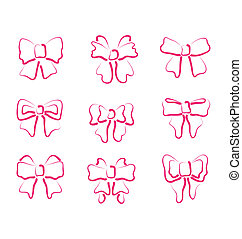 Christmas set outline gift bows isolated - Illustration...