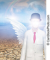 Hidden - Winged figure with obscured face in surreal...