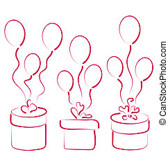 Set gift boxes with balloons for your anniversary