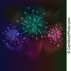 Colorful fireworks background with place for text -...