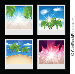 Set photo frames with beaches